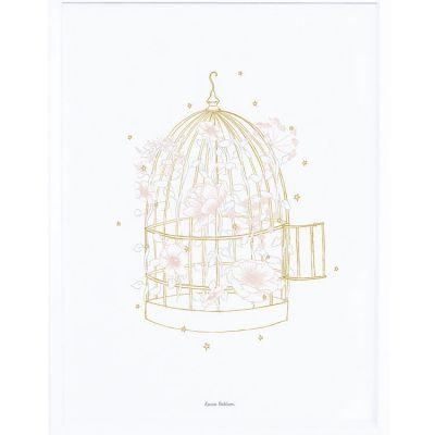 Affiche encadrée cage fleurie (30 x 40 cm)  par Lilipinso