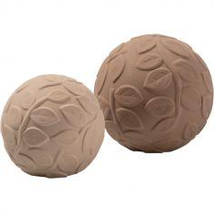 Lot de 2 balles sensorielles en hévéa Earth marrons