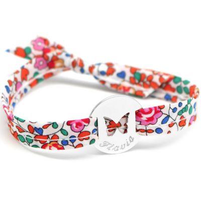Bracelet Liberty ruban papillon personnalisable (argent 925°)  par Petits trésors