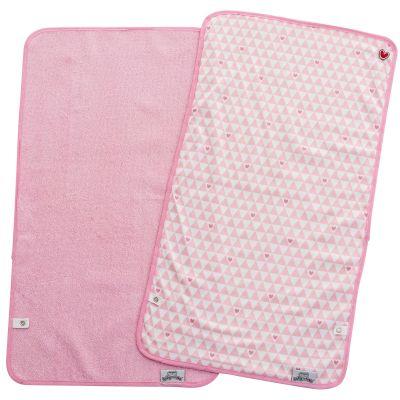 Lot de 2 serviettes de matelas à langer coeur rose (35 x 65 cm) BabyToLove