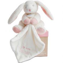 Coffret doudou plat J'aime mon Coffret doudou lapin rose (20 cm)  par Doudou et Compagnie