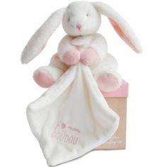 Coffret doudou plat J'aime mon Coffret doudou lapin rose (20 cm)