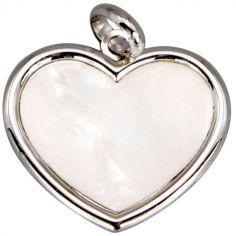 Médaille nacre cœur personnalisable (or blanc 18 carats)