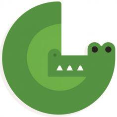 Lettre décorative crocodile G