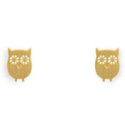 Boucles d'oreilles Nature hibou (vermeil doré)  par Coquine
