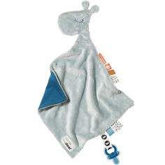 Doudou plat attache sucette Raffi la girafe bleue (30 cm)