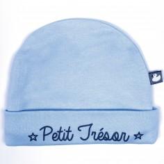Bonnet de naissance doublé coton Petit Trésor bleu - BB   Co cf18552b3d6