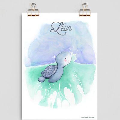 Affiche A4 Tortue (personnalisable)  par Gaëlle Duval