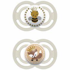 Lot de 2 sucettes anatomiques Perfect abeille et renard mixte (6-24 mois)