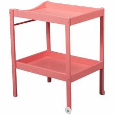 Table à langer Alice en bois massif laqué rose