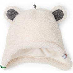 Bonnet hiver ours blanc Teddy (3-6 mois)
