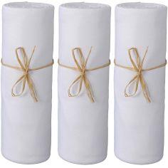 Lot de 3 draps housse en coton bio blanc (70 x 140 cm)
