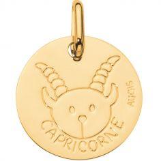 Médaille Zodiaque capricorne 14 mm (or jaune 750°)