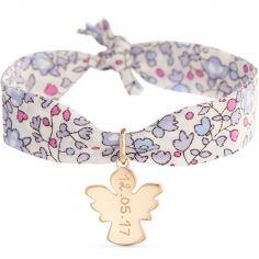 Bracelet maman Liberty avec ange personnalisable (plaqué or)