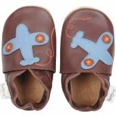 Chaussons en cuir Soft soles avion marron (9-15 mois) - Bobux