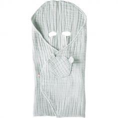 Couverture nomade en mousseline de coton mint (120 x 100 cm)