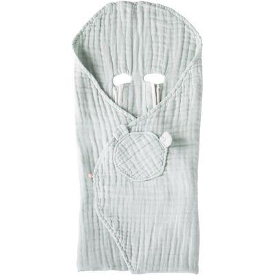 Couverture nomade en mousseline de coton mint (120 x 100 cm)  par Noukie's