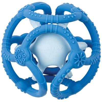 Lot de 2 balles encastrables en silicone bleues Nattou