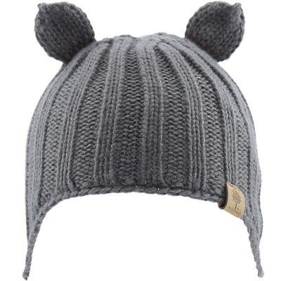 Bonnet en tricot avec oreilles gris (6-12 mois)