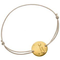 Bracelet cordon gris Le Petit Prince sur sa planète 14 mm (or jaune 750°)
