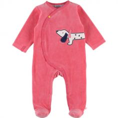 Pyjama chaud en velours Amy & Zoé chien rose (1 mois)