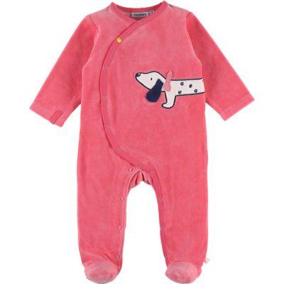 Pyjama chaud en velours Amy & Zoé chien rose (1 mois)  par Noukie's