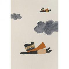 Affiche en papier recyclé ours super-héros (20 x 30 cm)