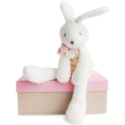 Peluche lapin chic J'aime mon doudou rose (30 cm) Doudou et Compagnie