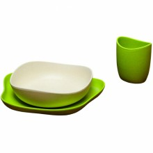 set de vaisselle becofeeding vert 3 pi ces becothings. Black Bedroom Furniture Sets. Home Design Ideas