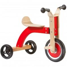Tricycle en bois naturel et rouge
