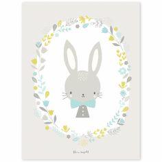 Affiche lapin garçon Sweet Bunnies by Flora Waycott (30 x 40 cm)