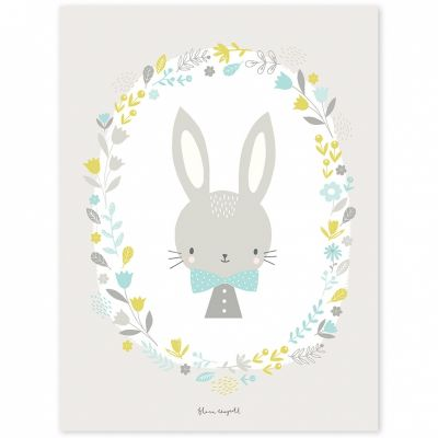 Affiche lapin garçon Sweet Bunnies by Flora Waycott (30 x 40 cm)  par Lilipinso