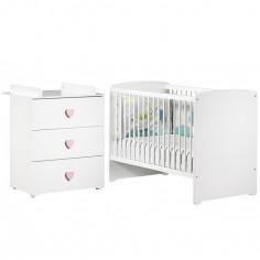 Pack duo lit bébé têtes panneaux blanc et commode à langer coeur rose New Basic