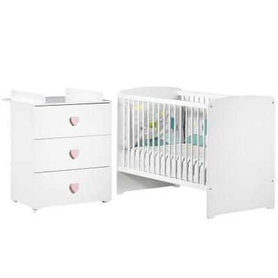 Pack duo lit bébé têtes panneaux blanc et commode à langer coeur rose New Basic Baby Price
