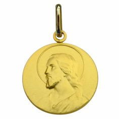 Médaille ronde Christ 16 mm (or jaune 750°)