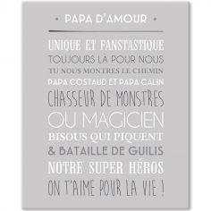 Tableau Papa d'amour gris galet (33 x 41 cm)