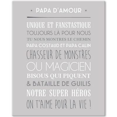 Tableau Papa d'amour gris galet (33 x 41 cm) Mes Mots Déco