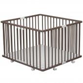 Parc bébé pliable à plancher Gaby en bois massif laqué taupe (92 x 98 cm) - Combelle
