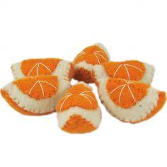 Lot de 6 quartiers d'orange en feutrine