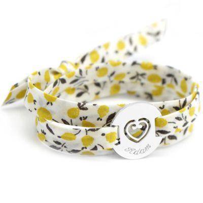 Bracelet Liberty maman sacré coeur personnalisable (argent 925°)  par Petits trésors