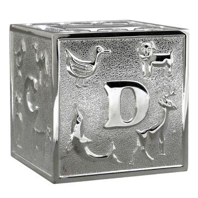 Tirelire Cube (métal argenté)  par Daniel Crégut