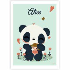 Affiche A4 Le panda et l'enfant fille (personnalisable)