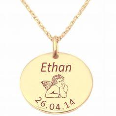 Médaille ange avec chaîne personnalisable (plaqué or jaune)