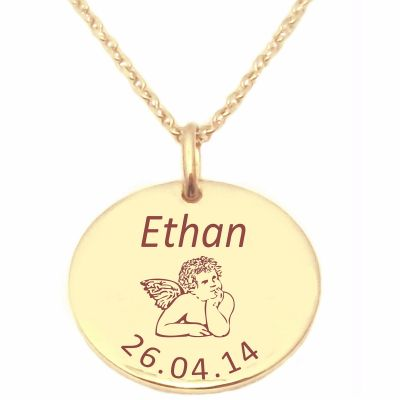 Médaille ange avec chaîne personnalisable (plaqué or jaune)  par Alomi