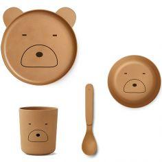 Coffret repas en bambou Mr Bear mustard (4 pièces)