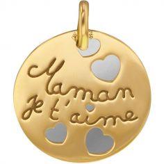 Médaille Maman je t'aime personnalisable (acier et or jaune 750°)