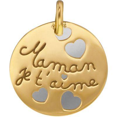 Médaille Maman je t'aime personnalisable (acier et or jaune 750°)  par Lucas Lucor