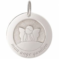 Médaille de naissance Ange Gardien personnalisable 18 mm (or blanc 750°)