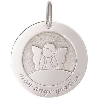 Médaille de naissance Ange Gardien personnalisable 18 mm (or blanc 750°)  par Je t'Ador