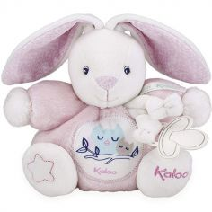Doudou attache sucette Imagine Patapouf Lapinou rose (19 cm)